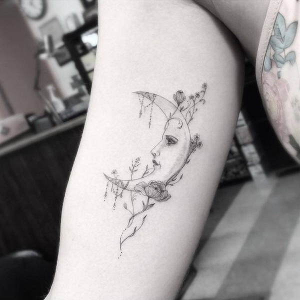 Fine Line Style Moon Tattoo on The Inner Arm.