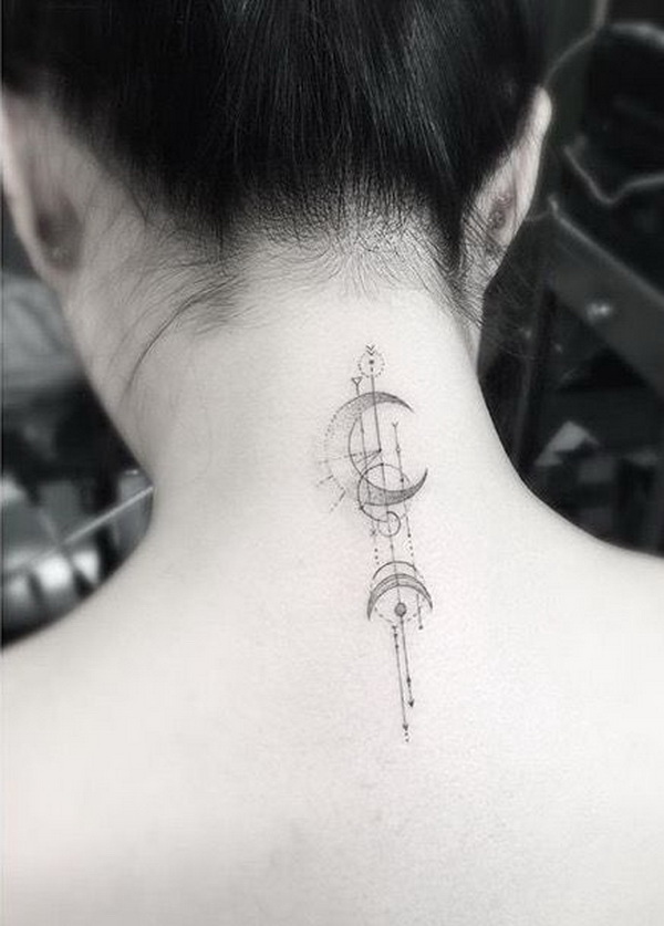 Simple Moon Back of Neck Tattoo.