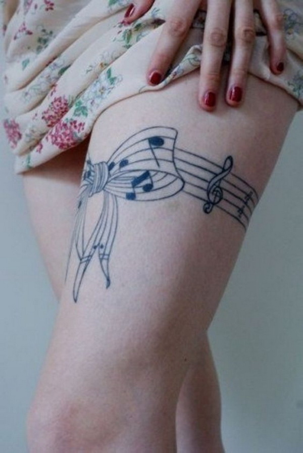 Musical Bow Tattoo on Thigh for Girls.