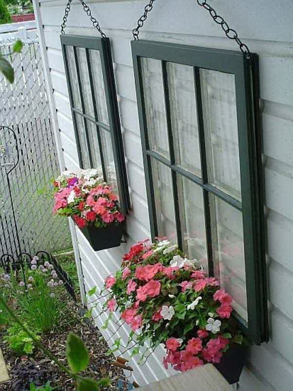 Repurposed Window Hanging Planters.