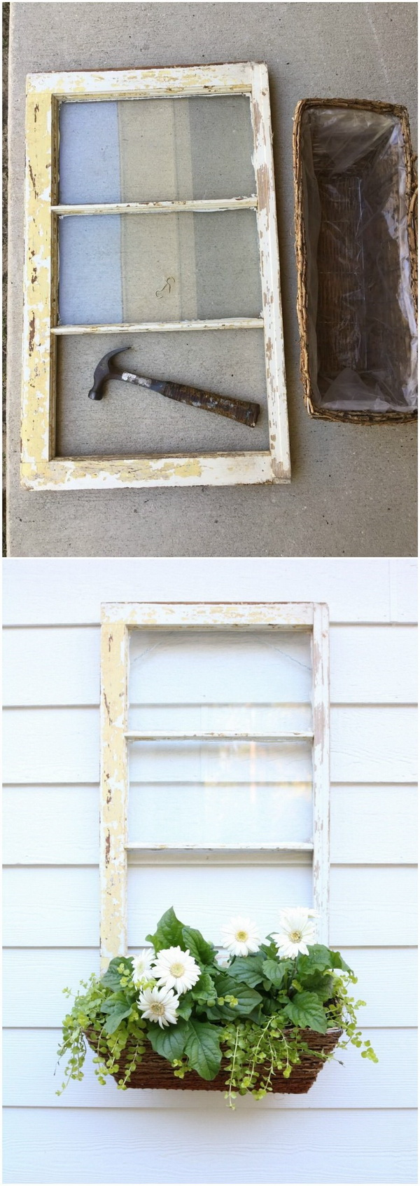 DIY Repurposed Window Box. Turn the old window fram into a lovely window box for your decor this spring season!