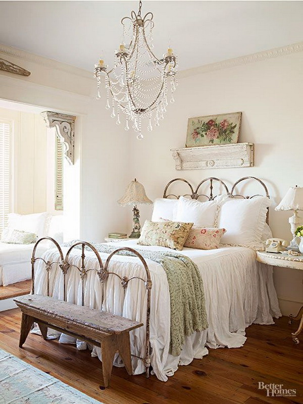 30 cool shabby chic bedroom decorating ideas for White shabby chic bedroom furniture