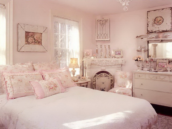 Soft and Romantic Pink Master Bedroom with Fabrics, Dainty Rose Prints.