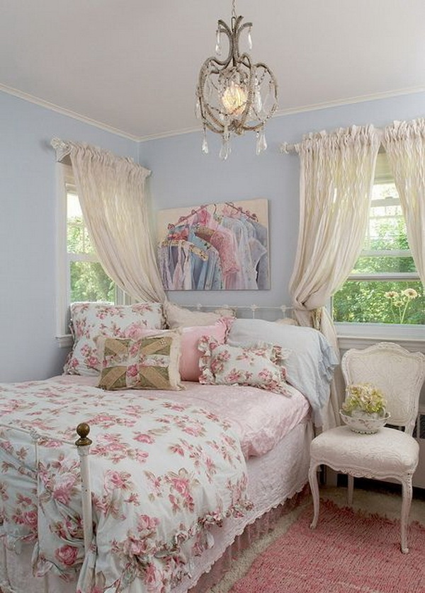 Pastel Blue And Pink Bedroom In Shabby Chic Style