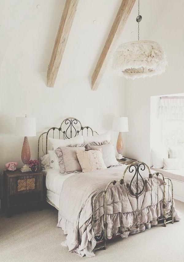 Vintage Gray Bedroom With Wrought Iron Bed And Wood Dresser