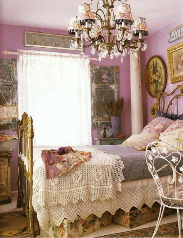Lavender Shabby Chic Bedroom Decorating.