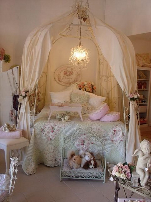 Shabby Chic Kids Bedroom with a Canopy Bed.