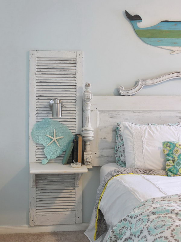 Vintage Shutters for Country Chic Bedroom Decor.