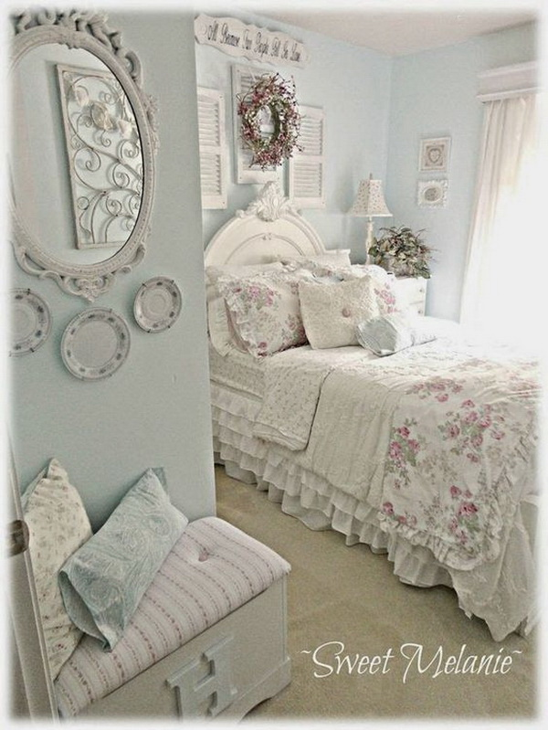 Shabby Chic Blue And Creamy White Bedroom