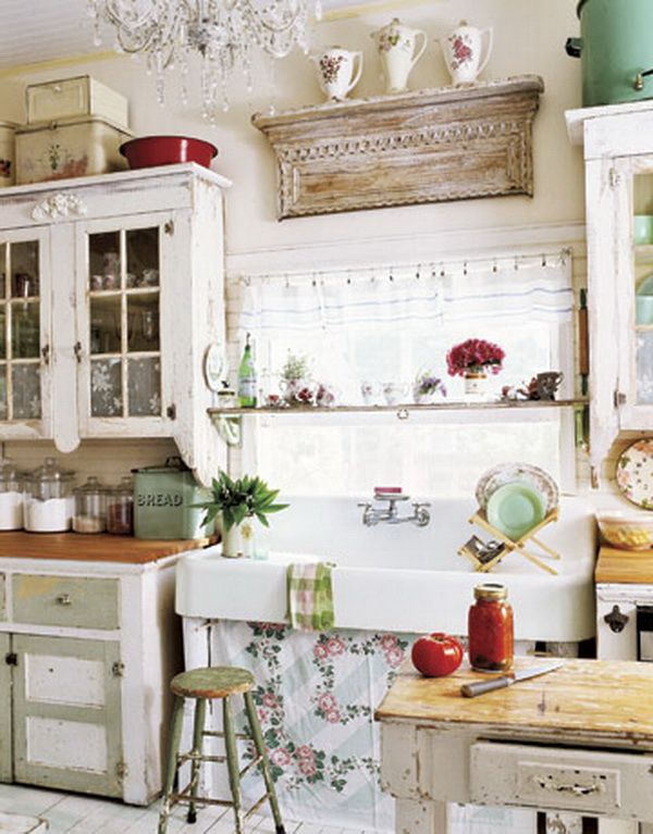 Cottage Shabby Chic Kitchen with Vintage Lines.