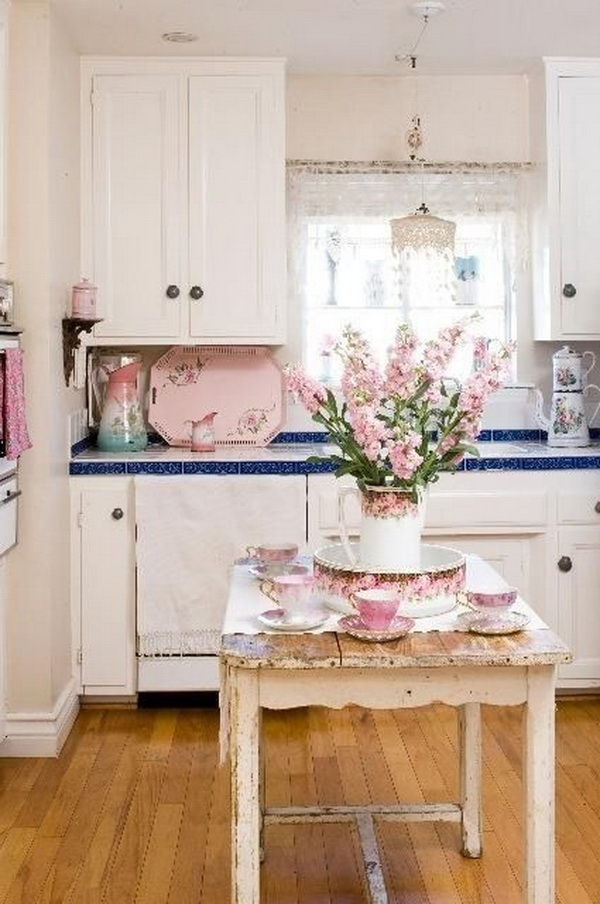 Fresh Flowers and Rustic Island for Shabby Chic Kitchen Decor