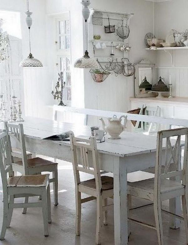White Shabby Chic Kitchen Table.