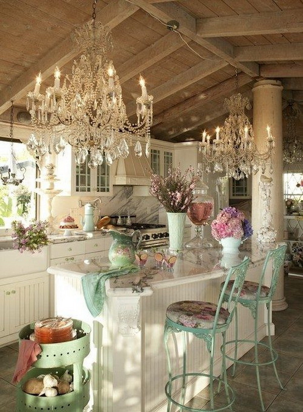 Shabby Chic Kitchen with Two Gorgeous Chandeliers.