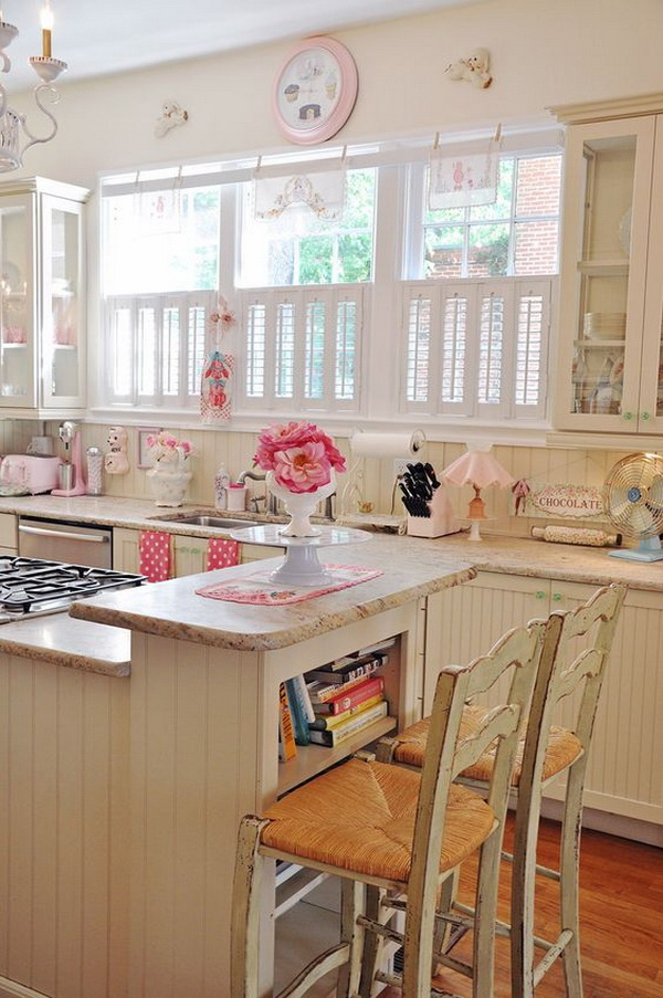 Pink And White Girly Shabby Chic Kitchen