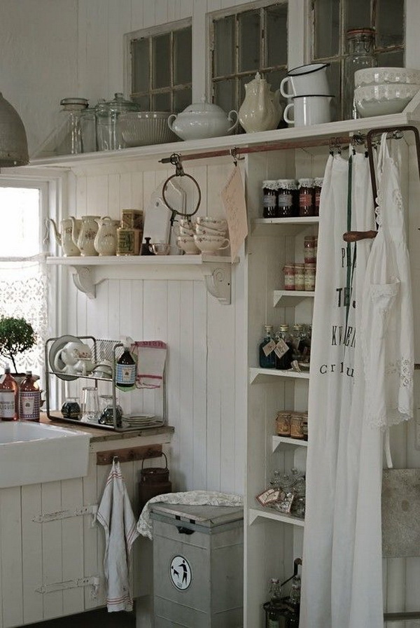 Whitewashed Kitchen Cabinets.