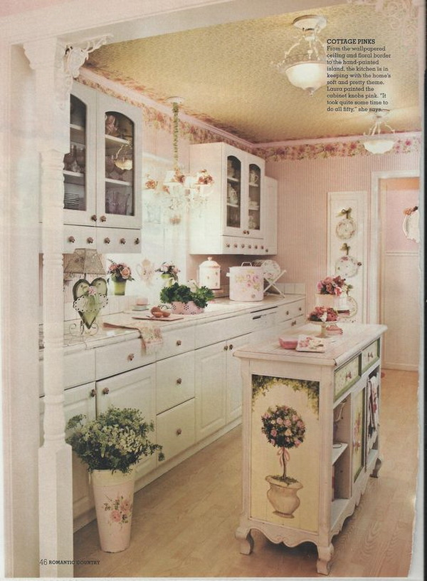 35 Awesome Shabby Chic Kitchen Accessories And Decor Ideas Vintage Shabby Chic Pink Kitchen