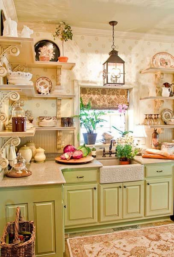 Pretty Shabby Chic Kitchen With Display Shelves