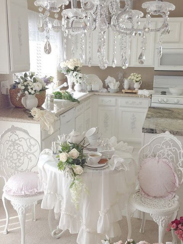 White Shabby Chic Eat-in Kitchen Design.