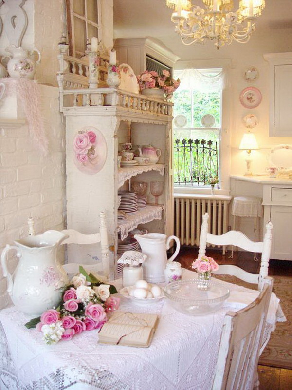Romantic Dining Room: 35 Awesome Shabby Chic Kitchen Designs, Accessories And