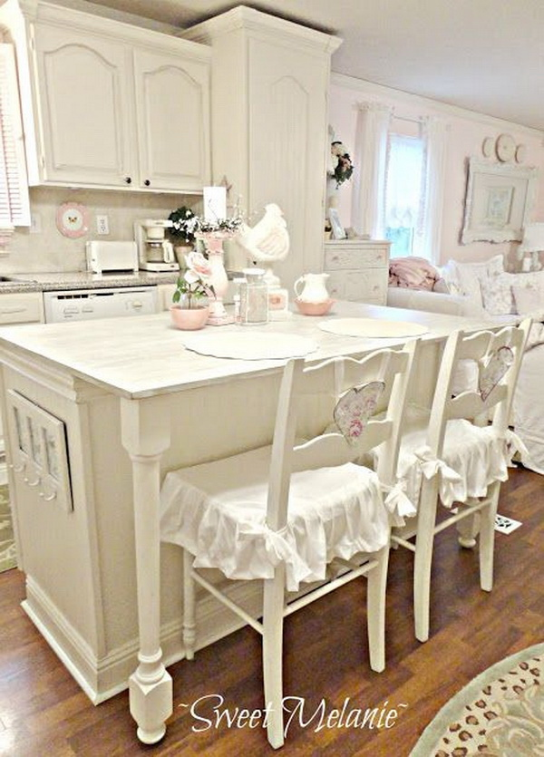 All White Shabby Chic Kitchen.