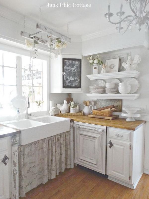 Vintage White Shabby Chic Kitchen Decor Design
