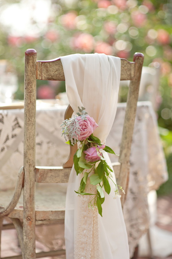 Outdoor Spring Shabby Chic Wedding Chair Decoration.