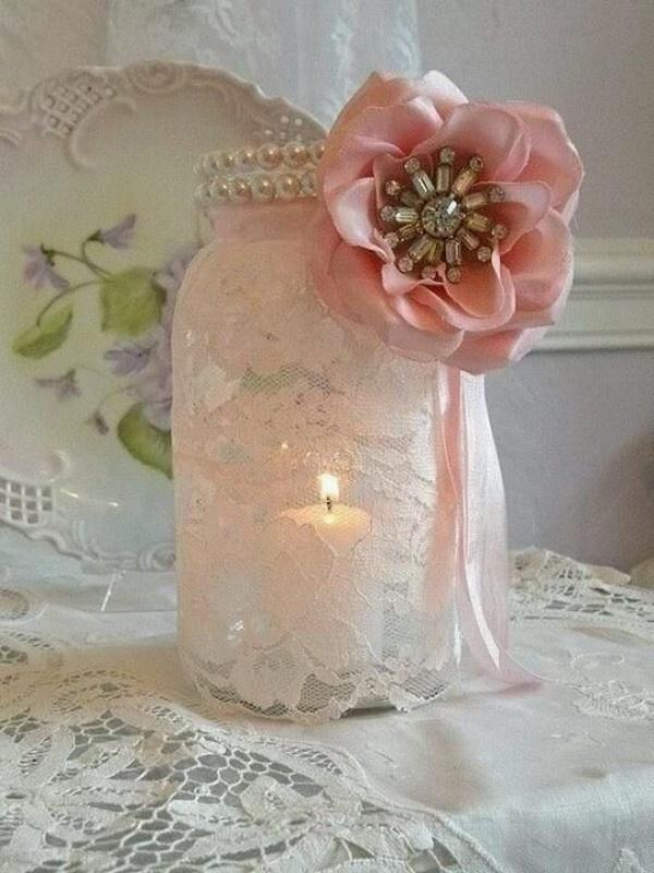 Mason Jar Lace Candles for Shabby Chic Wedding Decoration.