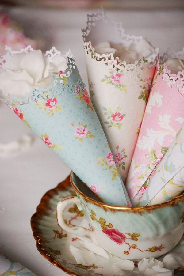 Decorative Floral Confetti Cones for a Vintage Wedding.