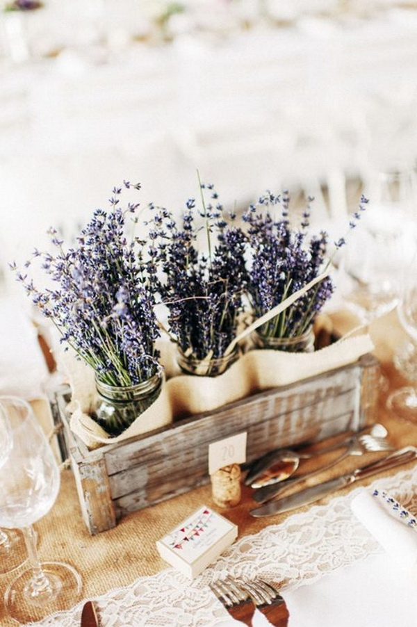 Small Wooden Crates with Lavender-filled Mason Jars for Shabby Chic Centerpieces.