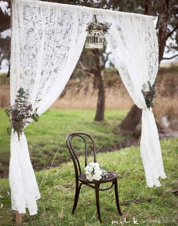 Lace Curtain Rustic Wedding Photobooth.