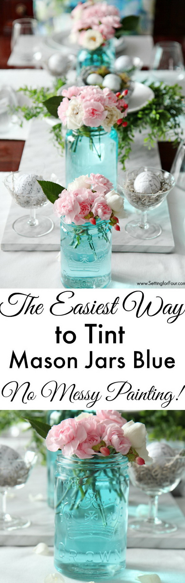 Beautiful Tint Mason Jars Blue for Wedding Decor.