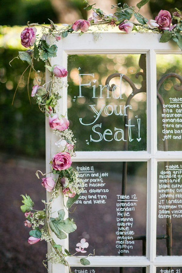 Window Frame Wedding Table Plan.