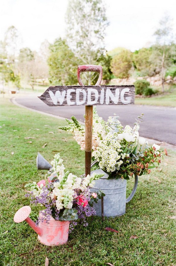 Shabby Chic Water-Can Wedding Entrance Sign.