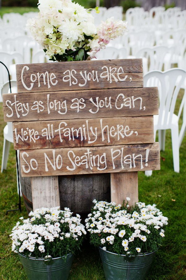 Rustic Chic Wedding Ceremony Sign.
