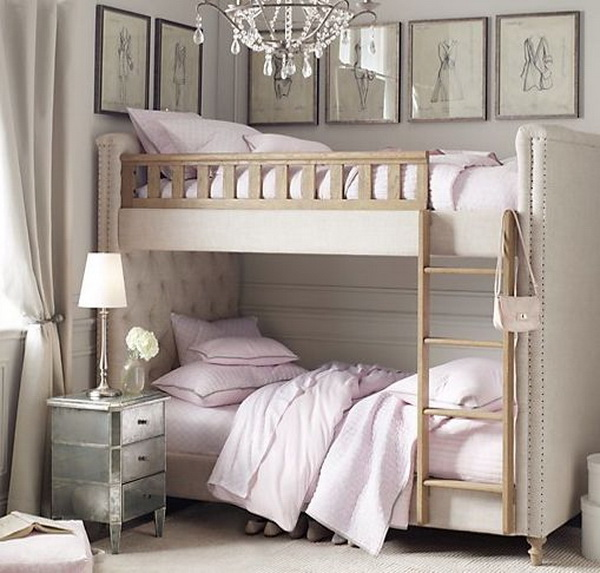Upholstered Bunk Beds In A Small Bedroom. Creative Small Shared Bedroom  Design Ideas.