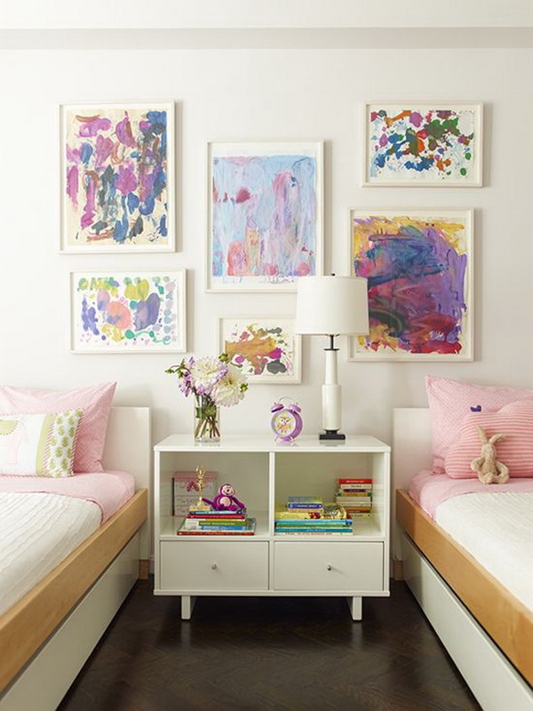 Shared bedroom design ideas: framing the art works for display.