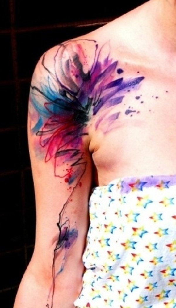 Watercolor Tattoo on Shoulder and Arm.
