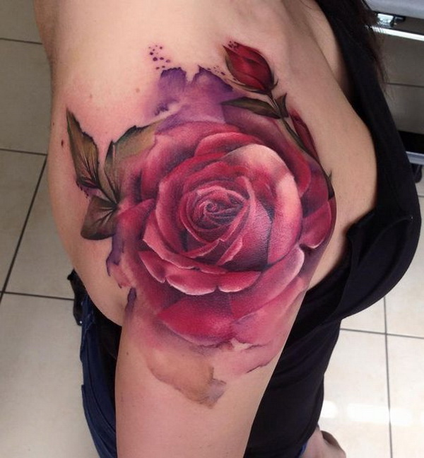 Red Rose Shoulder Tattoo.