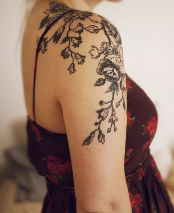 Floral Shoulder Tattoo for Women.