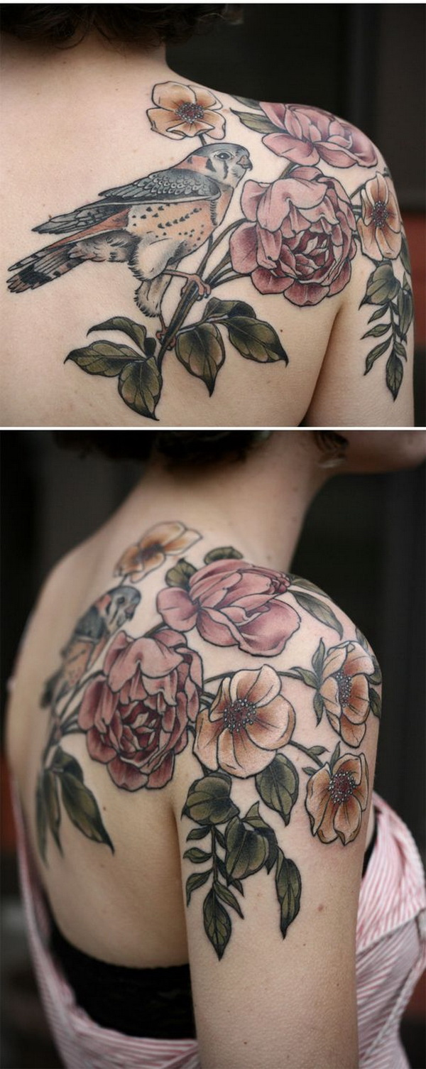 Amazing Rose Tattoo on Shoulder.