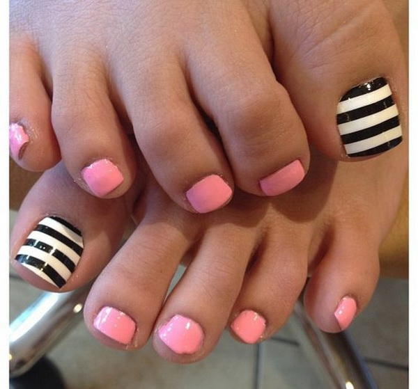 Baby Pink, Black and White Striped Pedicure.