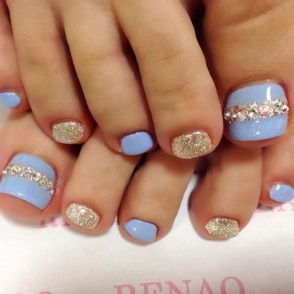 Blue And Rhinestone Toe Nail Art