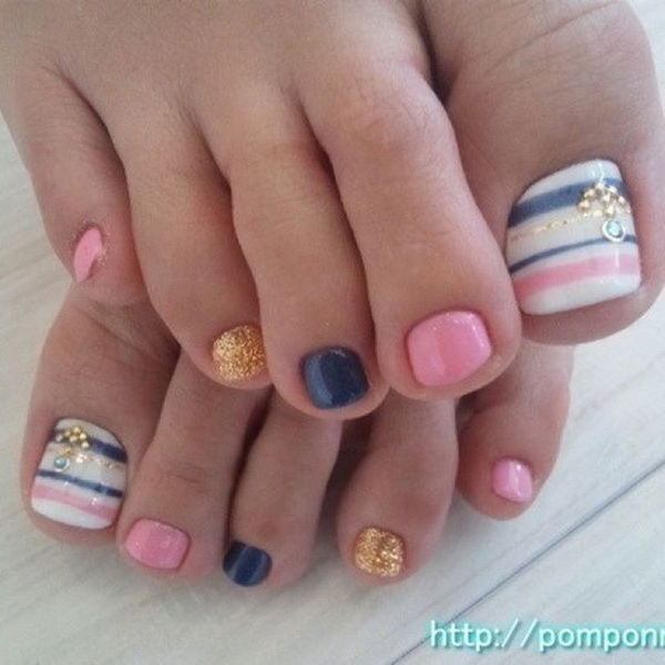 Colorful Toe Nail Design with Gold Details.