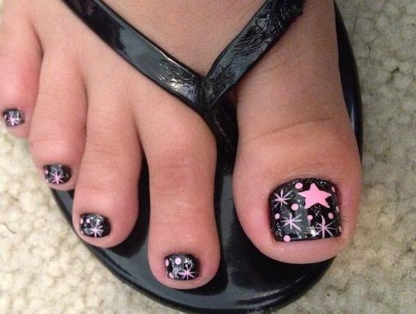Pink Star Polka Dot Toe Nail Design.