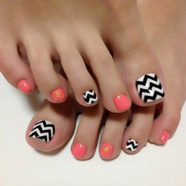 Melon, Black and White Chevron Toe Nail Design - 50+ Pretty Toe Nail Art Ideas - For Creative Juice