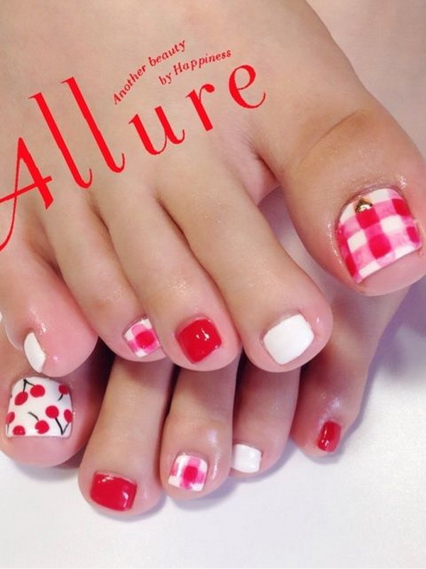 Cherry and Plaid Summer Toenails.