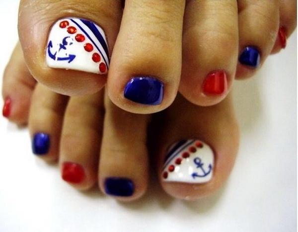 Nautical Toe Nail Art Design with Cute Anchors.