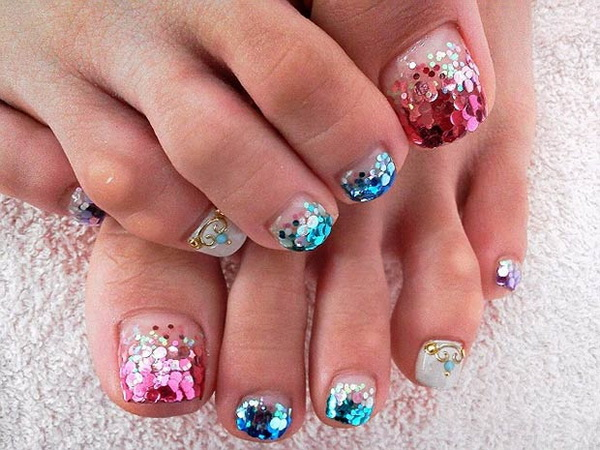 Pink And Blue Glitter Design.