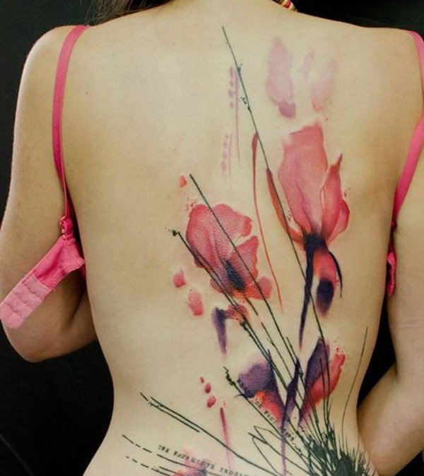 Amazing Watercolor Back Tattoo Design.