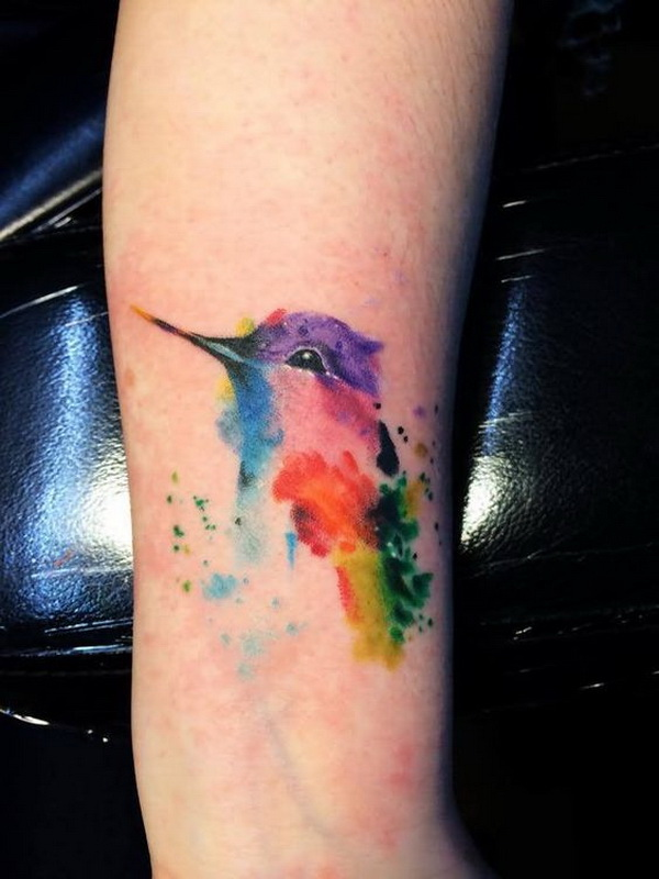 Watercolor Hummingbird Tattoo On Forearm.